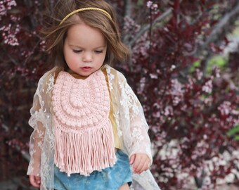 Pink Baby Bib, Cotton Baby Bib, Boho Baby Bib, Baby Bib with Fringe, Boho Style Baby Bib, Boho Baby, First Birthday Bib, Baby Easter Outfit