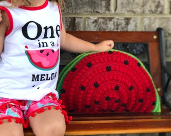 Watermelon Pillow, Crochet Watermelon Pillow, Big Watermelon Pillow, Watermelon Baby Nursery Decor, Watermelon Room, Watermelon Nursery