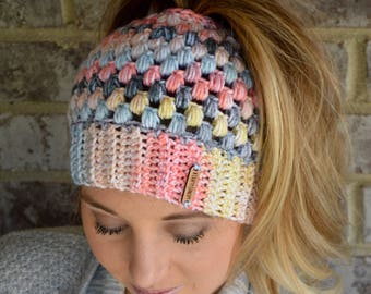 Crochet Messy Bun Beanie, Messy Bun Beanie, Top Knot Beanie, Mom Bun Beanie, Ponytail Beanie, Messy Bun Hat, Mom Bun Hat, Ponytail Hat