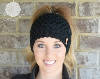 Messy Bun Beanie, Crochet Messy Bun Beanie, Top Knot Beanie, Ponytail Beanie, Crochet Ponytail Beanie, Crochet Bun Beanie, Mom Bun, Black C