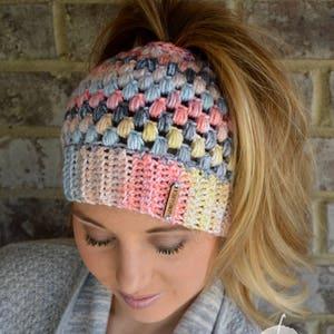 Top Knot Beanie Buffalo Plaid Messy Bun Hat Gift Under 30 Red and Black Plaid Mom Bun Beanie Crochet Ponytail Beanie