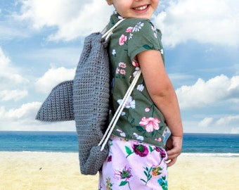 CROCHET PATTERN- Shark Backpack Modification, Crochet Shark Bag, Easy Crochet Backpack Modification, Crochet Shark Back, Crochet Shark Fin
