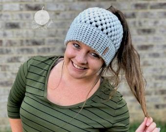 CROCHET PATTERN, Double Brim Bun Beanie, Crochet Messy Bun Beanie Pattern, Beanie Crochet Pattern, Messy Bun Beanie, Claire Bun Beanie