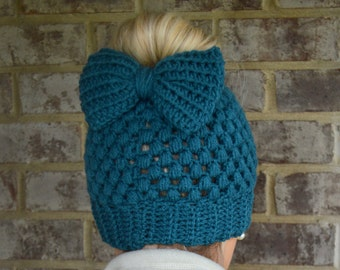 Antique Teal Claire Bun Beanie with Bow