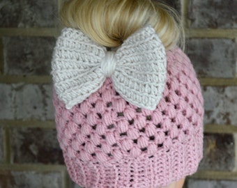 Rosy Cheeks Claire Bun Beanie with Linen Bow