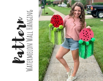Crochet Watermelon Wall Hanging Pattern, Crochet Watermelon Pattern, Crochet Watermelon Home Decor Pattern, Crochet Summer Pattern