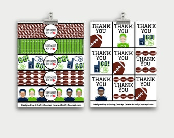 Super Bowl Wrap labels- Handmade with love- PDF Download