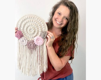 CROCHET PATTERN-  Wall Hanging, Crochet Home Decor Pattern, Crochet Flower Pattern, Easy Crochet Pattern, Crochet Dreamcatcher Pattern