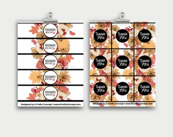 Fall Flowers Wrap Labels- Handmade with love- PDF Download