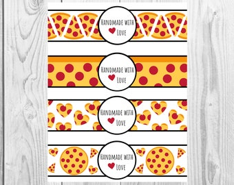 Pizza - Handmade with Love - Product Wrap Labels - PDF