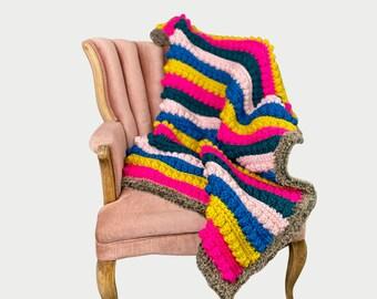 CROCHET PATTERN - Chunky Bobble Blanket, Bobble Blanket Pattern, Bobble Stitch Blanket Crochet Pattern, Crochet Blanket Pattern, Bulky Yarn