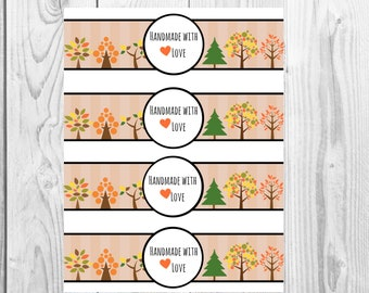 Fall Variety - Handmade with Love - Product Wrap Labels - PDF