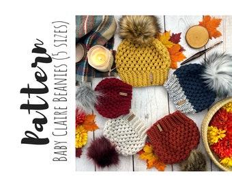 Baby Claire Beanies Crochet Pattern, Crochet Child Size Beanie Pattern, Beanie Crochet Pattern, Simple Baby Beanie Pattern, Toque Pattern