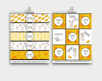Cheese Themed Printable Product Labels, PDF Labels, Digital Download, Handmade with Love Labels, Printable handmade tags