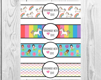 Rainbow  - Handmade with Love - Product Wrap Labels - PDF