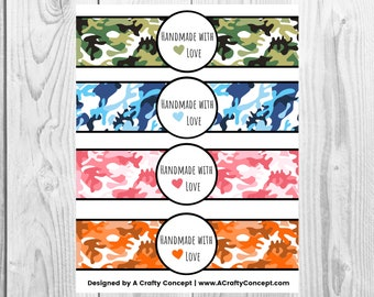 Camo - Handmade with Love - Product Wrap Labels - PDF