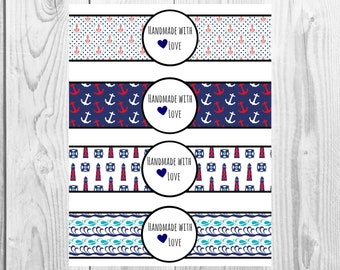 Nautical - Handmade with Love - Product Wrap Labels - PDF