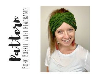 Boho Bobble Twist Headband Crochet Pattern