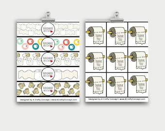 Toilet Paper Wrap Labels- Handmade with love- PDF Download