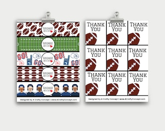 Football Wrap Labels- Handmade with love- PDF Download