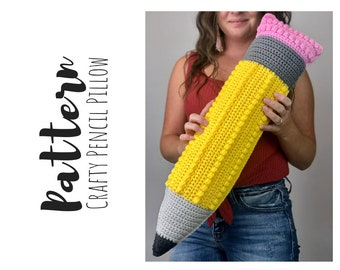 Crochet Pencil Pattern, Crochet Giant Pencil Pillow Pattern, Crochet Pencil Pillow Pattern, Crochet Pillow, Crochet Teacher Gift