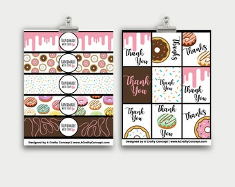 Donut Wrap Labels- Handmade with love- PDF Download
