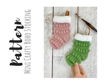 Crochet Mini Stocking Pattern, Christmas Crochet Patterns, Stocking Crochet Pattern, Easy Crochet Pattern, Crochet Holiday Stocking