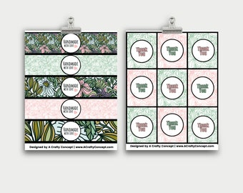Plants and Flowers Wrap Labels- Handmade with love- PDF Download