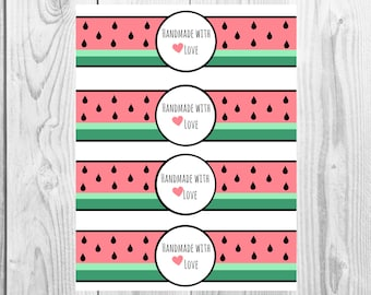 Watermelon - Handmade with Love - Product Wrap Labels - PDF