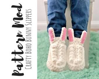 Crafty Boho Bunny Slippers Crochet Pattern Modification, Crochet Bunny Slippers Pattern Modification, Easy Crochet Mod