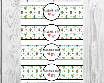 Christmas Cactus - Handmade with Love - Product Wrap Labels - PDF