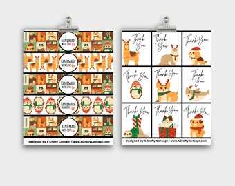 Christmas Animals Wrap Labels- Handmade With Love- PDF Download