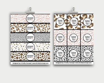 Animal Print Product Labels, Editable Product Tags, Product Wrap Labels, Leopard Print Product Tags, PDF Labels, Leopard Print Thank You tag