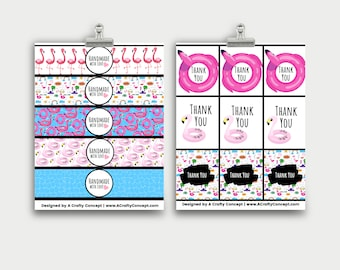 Flamingo Wrap labels- Handmade with love- PDF Download