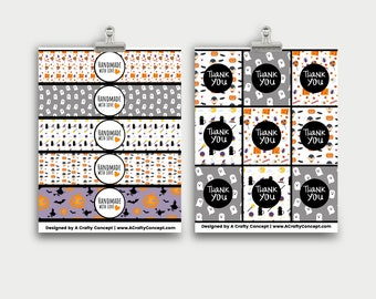 Spooky Wrap Labels- Handmade with love- PDF Download