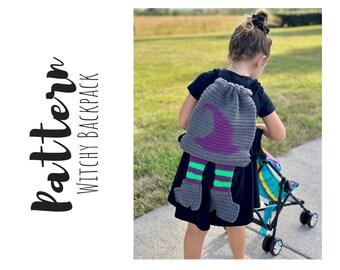 Crochet Witch Hat Backpack Pattern, Crochet Childs Backpack Pattern, Crochet Halloween Pattern, Crochet Backpack Pattern, Digital Download
