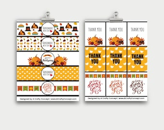 Thanksgiving Wrap Labels- Handmade with love- PDF Download
