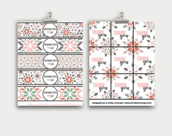 Geometric Snowflake Wrap Labels, Winter Product Packaging, Handmade With Love Labels, Handmade with Love Product Tags, Wrap Around Labels