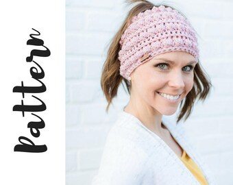 Kate Bun Beanie Crochet Pattern, Crochet Messy Bun Beanie Pattern, Beanie Crochet Pattern, Messy Bun Beanie Pattern