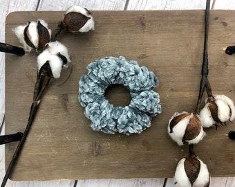 Big Scrunchie, Blue Scrunchie, Chunky Scrunchie, Velvet Scrunchie, Crochet Scrunchie, Gifts For Her Under 10, Large Scrunchie, Teacher gift