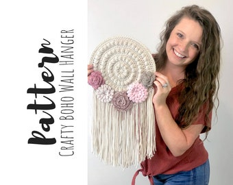 Crochet Wall Hanging Pattern, Crochet Home Decor Pattern, Crochet Flower Pattern, Easy Crochet Pattern, Crochet Dreamcatcher Pattern