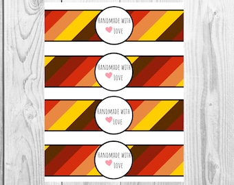 Fall Colors - Handmade with Love - Product Wrap Labels - PDF