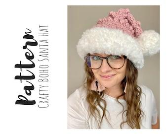 Crochet Christmas Santa Hat Pattern, Christmas Crochet Patterns, Santa Hat Crochet Pattern, Easy Crochet Pattern, Crochet Holiday Hat