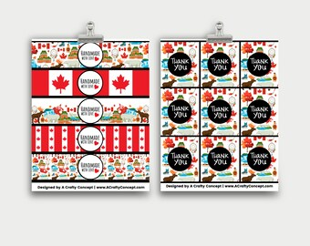 Canada Themed Handmade with Love Tags- Small Business Packaging PDF Download