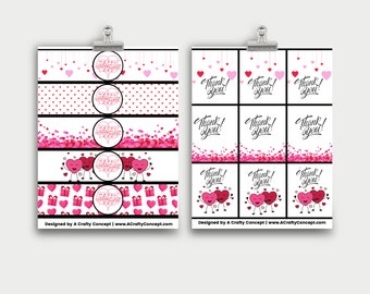 Valentines Day Wrap labels- Handmade with love- PDF Download