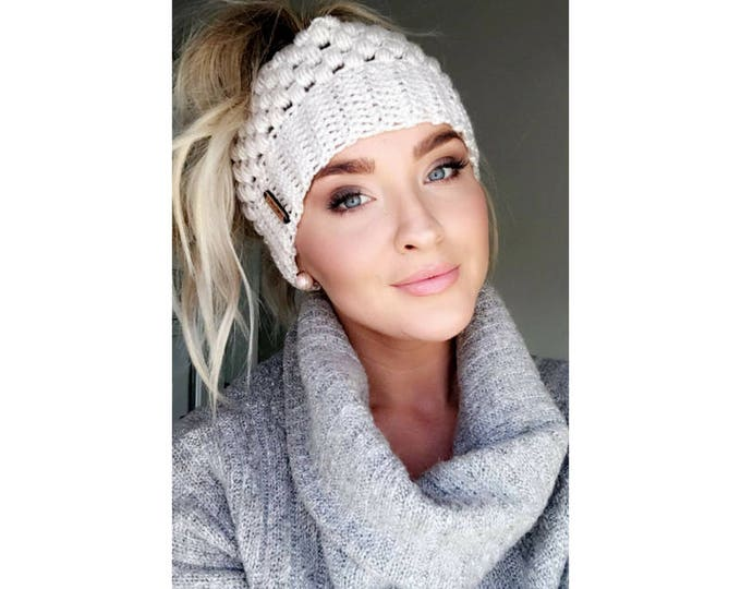 Featured listing image: Linen Claire Bun Beanie