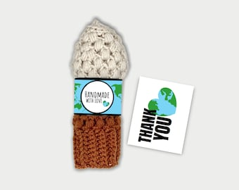 Earth Day Handmade With Love Tags, Earth Day Thank You Cards, Printable Thank You Cards, Wrap Labels and Thank You Cards for crochet