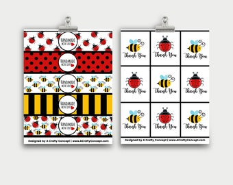 Lady Bugs and Bumblebee Wrap Labels- Handmade with love- PDF Download