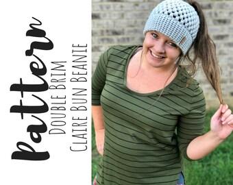 Double Brim Claire Bun Beanie Crochet PATTERN, Crochet Messy Bun Beanie Pattern, Beanie Crochet Pattern, Messy Bun Beanie Pattern