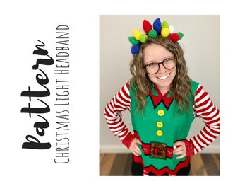 Crochet Christmas Light Headband Pattern, Christmas Crochet Patterns, Christmas Light Crochet Pattern, Easy Crochet Pattern, Crochet Crown